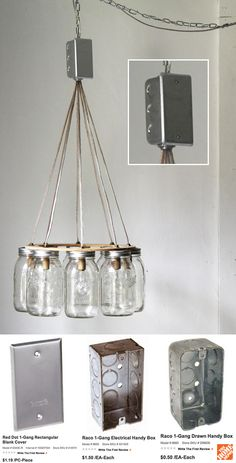 IDEAS | DIY LIGHTING FIXTURE :: How to connect multiple light wires in a DIY fixture :: Use an electrical box and blank panel/cover...they are very cheap @ Home Depot. You could even use a round one turned on it's side. Here's a link to more about electrical boxes http://www.homedepot.com/webapp/catalog/servlet/ContentView?pn=Boxes_Covers_Fittings=10051=-1=10053
