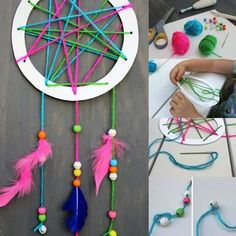 Easy DIY for young and old in 45 inspirations!- Bricolage facile pour petits et grands en 45 inspirations! easy DIY of a dream catcher with your kids - Easy Crafts For Kids, Crafts To Do, Diy For Kids, Arts And Crafts, Children Crafts, Crafts Cheap, Teen Crafts, Diy Y Manualidades, Rainbow Crafts