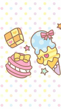 Ice cream ★ Find more #kawaii wallpapers for your #iPhone + #Android @prettywallpaper