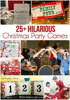 The best collection of 25 awesome Christmas party games, lots of free printables, and tons of laughs! More
