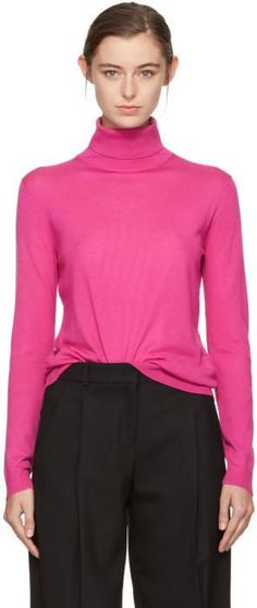 Jil Sander Navy Pink Wool Turtleneck