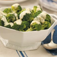 Broccoli with Lemon Sauce:  10 servings; 3/4 cup broccoli with 2 tablespoons sauce equals 76 calories, 3 g fat; Diabetic Exchanges:  2 vegetable, 1/2 fat