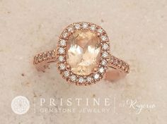 Cushion Peach Sapphire Engagement Ring Rose by PristineJewelry Sapphire Rose Gold Ring, Peach Sapphire, Sapphire Wedding, Halo Diamond, Emerald Rings, Sapphire Earrings, Wedding Rings On A Budget, Wedding Rings Vintage, Vintage Rings