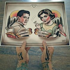 Hey, I found this really awesome Etsy listing at https://www.etsy.com/listing/285535947/dale-cooper-and-audrey-horne-tattoo