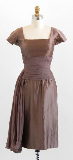 vintage 1950s or early 1960s Nan Duskin Toffee Silk Designer Cocktail Dress | http://www.rococovintage.com