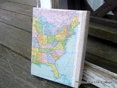 Use mod podge to wrap any canvas with a map or other paper ephemera www.thecountrychi...