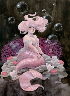 reneenault:  This Friday's mermaid! You can get prints of all my Friday mermaids in my Etsy shop or my web shop. You can also get mermaid ph...