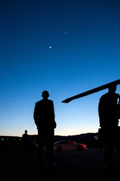 President Barack Obama stops to view the moon and Venus before boarding Marine One in Boulder, Colo., April 24, 2012. (Official White House Photo by Pete Souza)