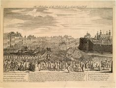 Beheading of the rebel lords on great tower hill - Battle of Culloden - A contemporary engraving depicting the executions of Kilmarnock and Balmerino at Great Tower Hill, on 18 August 1746 Cromarty, Bonnie Prince Charlie, Scotland History, Memorial Stones, Tower Of London, Freedom Fighters, Old London, Gravure, Countries Of The World