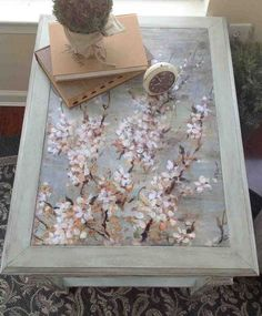 Cherry Blossom Decoupage  I love this end table!