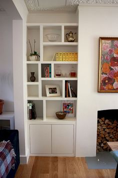 Fitted wardrobes images made in London. Alcove Cupboards, Bookshelves and floating shelves examples. Prices and pictures of wardrobes and fitted furniture. House Interior, Living Room Storage, Home, Living Room Shelves, Alcove Cabinets, Interior, Room Design, Room Shelves, Home Living Room
