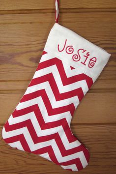 Personalized Christmas Stocking: Bright Chevron Collection $28