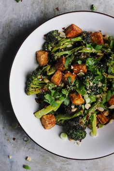 Crispy Baked Tofu + Broccoli Bowls with Blood Orange Soy Sauce | Crispy baked tofu and roasted broccoli bowls with a blood orange soy sauce. Crispy, lightly coated, naturally gluten-free, vegan baked tofu.