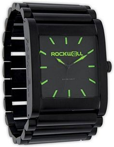 "Rockwell Time Men's Rook Dial Watch, Black Case/Green. Swiss quartz movement. Case diameter: 38 mm. Hardened mineral crystal. Rockwell ""original"" band. Water resistant to 330 feet (100 M): suitable for snorkeling, as well as swimming, but not diving."