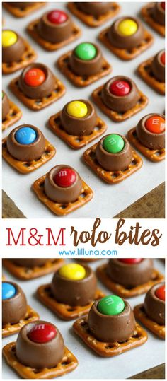 Candy Rolo Bites - butter pretzels topped with Rolos and M&Ms. This treat is always a hit recipe at every party! Candy Rolo Bites - butter pretzels topped with Rolos and M&Ms. This treat is always a hit recipe at every party! Candy Recipes, Holiday Recipes, Cookie Recipes, Dessert Recipes, Christmas Recipes, Dessert Ideas, Vegan Recipes, Christmas Pretzels, Christmas Snacks