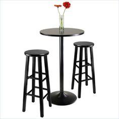 "Winsome-Obsidian-3-PC-Table-w-29-Stools-Black-Pub-Set 23.6"" D $138"
