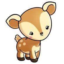Cute Kawaii Drawings, Kawaii Doodles, Cute Animal Drawings, Cute Animal Pictures, Cute Cartoon Animals, Anime Animals, Baby Animals, Cute Animals, Deer Cartoon
