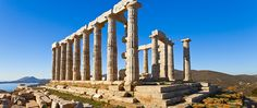 """It is an #Ideal spot for a #Temple of #Poseidon """"#God of the #Sea"""" @ #Sounio, #Greece.. The marble temple has served as a #Landmark for #Sailors from #Ancient times to #Today."""