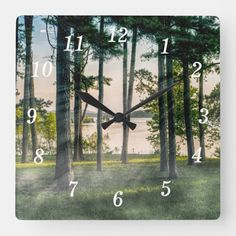 Foggy Trees At Table Rock Square Wall Clock Branson Missouri, Table Rock, Wall Clocks, Hand Coloring, Black And Grey, Trees, In This Moment, Prints, Photography