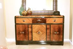 Decor, Furniture, Credenza Sideboard, Interior, Painted Furniture, Art Deco Kitchen, Art Deco Interior, Cabinet, Wood Furniture