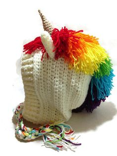 Rainbow Unicorn Hood Crochet Pixie Hat Unicorn Cosplay Hood Crochet Unicorn Hat Winter Animal Hood Kawaii Cosplay Hat USD) by AddSomeStitches Crochet Hood, Crochet Baby, Hat Crochet, Irish Crochet, Crochet Braids, Pixie, Crochet Unicorn Hat, Unicorn Ears, Teen Girl Gifts