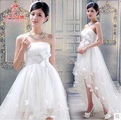 fashion womens long tailing white bowknot irregular hem wedding dress plus size