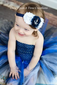 Navy Blue and White Nautical Shabby Flower Trio Headband - Silver Anchor Photo Prop - Newborn Infant Hairbow - Baby Child Girls Hair Bow on Etsy, $6.99