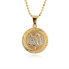 Exclusive Allah Name 18K Gold Plated Round Medal Pendant Necklace is functional and stylish. This is a great piece to add to your jewelry collection! Measures approx: 26mm*37mm. Free gold chain necklace is included.