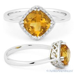 Gemstone 177020: 1.41Ct Cushion Cut Citrine And Round Diamond Halo Engagement Ring 14K White Gold BUY IT NOW ONLY: $359.1