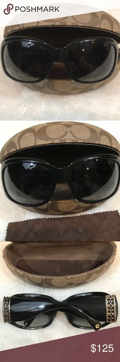 Coach Black Jaqueline S828 Sunglasses Black with gradiant  gray lenses  CE 120 Gold hardware  Frame size 62x17x120  They are not new great condition  I don't see any scratches Comes with case Coach Accessories Glasses