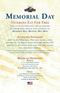 Come join us for Memorial Day!