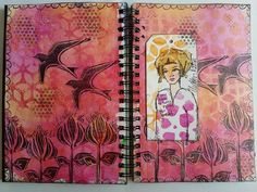 Beautiful art journal by Frauke in this student work from my Inventive Ink Colorful Mixed Media Effects class. #afflink #marjiekemper   http://shareasale.com/r.cfm?b=253536&u=702304&m=29190&urllink=www%2Ecraftsy%2Ecom%2Fpaper%2Dcrafts%2Fclasses%2Finventive%2Dink%2Dcolorful%2Dmixed%2Dmedia%2Deffects%2F39967&afftrack=