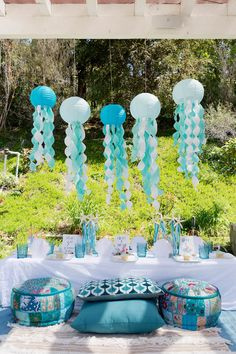 Kara's Party Ideas Make a Splash Mermaid Birthday Party Craft Party, Birthday Party Decorations, Ocean Party Decorations, Mermaid Theme Birthday, Little Mermaid Parties, Mermaid Party Games, Quinceanera Party, First Birthday Parties, 23 Birthday