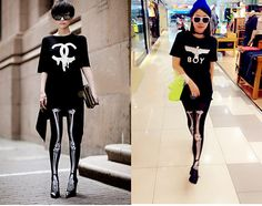 €2.86 Cool Lady Black Skeleton Bone Pattern Pants Tights Pantyhose Leggings Stockings FREE SHIPPING!