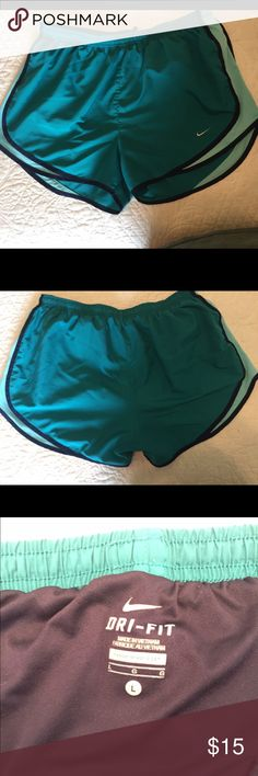 Nike Dri-Fit shorts Dri-fits in turquoise blue w/ navy blue lining and light blue mesh. In great condition! Nike Shorts