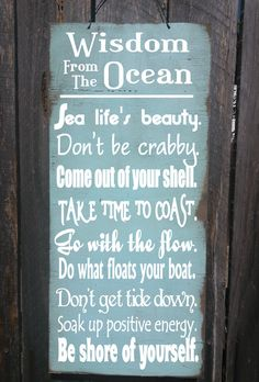 beach sign beach decor Wisdom From The Ocean Sign beach house decor beach house sign ocean sign beach beach cottage decor 276278 Beach Cottage Style, Beach Cottage Decor, Coastal Cottage, Coastal Homes, Coastal Style, Coastal Decor, Coastal Living, Cottage Art, Coastal Nursery