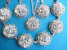Bridal Jewelry Set, Bracelet , Necklace, earrings, Crystal Rhinestone Wedding Jewelry set. $75.00, via Etsy.
