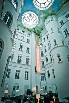 The lobby of the Nobis Hotel, Stockholm.  So beautiful!  I want to do a ceiling like that one day.