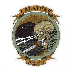 Creature Skateboards <br> Creature Army Sticker - x 7 in Kink Bmx, Creature Skateboards, Skateboard Art, Futurama, Graffiti, Surfing, Sculptures, Decals, Army