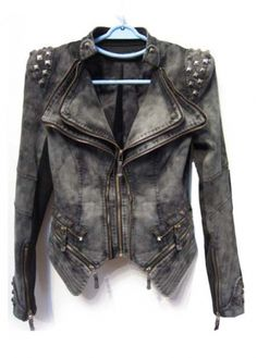 Chic Zipper Closure Grey Denim Coat with Studded