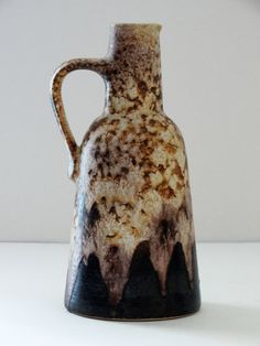 Dümler & Breiden Mid Century Brown and Cream Fat Lava West German Vase by PasterCorte on Etsy