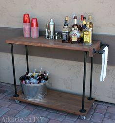 DIY Rustic Industrial Bar Cart | Addicted 2 DIY