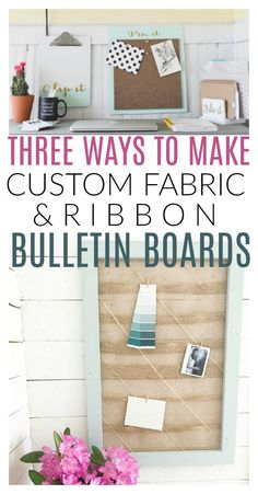 Inside: Three ways to create a custom look for your home office bulletin board: a burlap bulletin board or fabric covered bulletin boards, ribbon memo boards and custom lettered cork boards! Ribbon Bulletin Boards, Office Bulletin Boards, Ribbon Boards, Diy Memo Board, Diy Cork Board, Cork Boards, Memo Boards, Fabric Corkboard, Cork Fabric