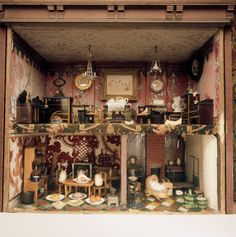 Detail of the interior of the Dolls House in the Treasure Room at Hill Top, the home of Beatrix Potter