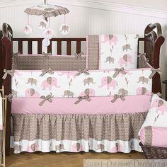 Elephant Pink 9 Piece Baby Girl Crib Bedding Set - sweet dreams