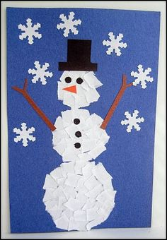 Winter Projects for Preschoolers scrap paper snowman<br> Winter Projects for Preschoolers and Toddlers designed to use at daycare or at home. Winter Kids, Winter Art, Christmas Crafts For Kids, Winter Theme, Christmas Art, Holiday Crafts, Finger Painting For Kids, January Crafts, Winter Project