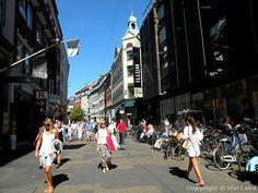 The pedestrian street Købmagergade in Copenhagen, Denmark. Charles Montgomery, Happy City, Copenhagen Denmark, Pedestrian, Street View, Horses, Places, Pictures, Bicycle