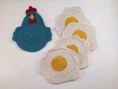 Crochet Pattern for the Chicken or the Egg Coaster Crochet Gifts, Knit Crochet, Doilies Crochet, Thread Crochet, Crochet Chicken, Crochet Kitchen, Sewing Basics, Coaster Set, Pot Holders