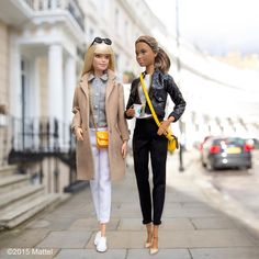 Barbie walking the streets of London with her stylish friend.