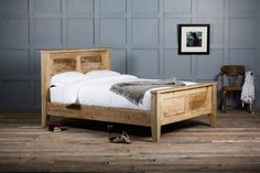 The Shaker Panel Bed is a simple, classic design made expertly by our local team of joiners. The panelled head and footboard provide a stunning platform for the exceptional quality of craftsmanship to be displayed. Handmade from characterful reclaimed British timbers each and every bed is unique.  http://www.authenticfurniture.co.uk/bedroom/reclaimed-wooden-beds/shaker-panel-bed
